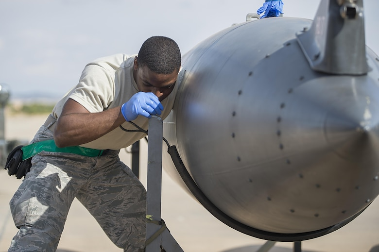 U.S. Air Force Senior Airman Casey Jackson, 48th Component Maintenance Squadron fuels systems journeyman, repairs a fuel tank during Tactical Leadership Programme 16-3 at Los Llanos Air Base, Spain, Sept. 26.  Training programs like TLP showcase how the U.S. works side-by-side with NATO Allies and partners every day, training to meet future security challenges as a unified force. (U.S. Air Force photo/ Staff Sgt. Emerson Nuñez)