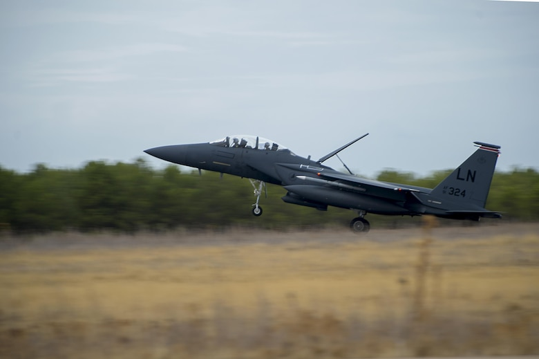 An F-15E Strike Eagle assigned to the 494th Fighter Squadron from Royal Air Force Lakenheath, England, lands after a sortie in support of Tactical Leadership Programme 16-3 at Los Llanos Air Base, Spain, Sept. 26. The training prepares NATO and allied forces' flight leaders to serve as mission commanders, lead coalition force air strike packages, and provide tactical air expertise to NATO agencies. (U.S. Air Force photo/ Staff Sgt. Emerson Nuñez)