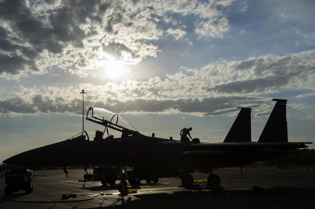 U.S. Air Force Airman 1st Class James Metcalfe, 48th Aircraft Maintenance Squadron dedicated crew chief, inspects an F-15E Strike Eagle after a sortie in support of Tactical Leadership Programme 16-3 at Los Llanos Air Base, Spain, Sept. 22. Training programs like TLP showcase how the U.S. works side-by-side with NATO allies and partners every day, training to meet future security challenges as a unified force. (U.S. Air Force photo/ Staff Sgt. Emerson Nuñez)