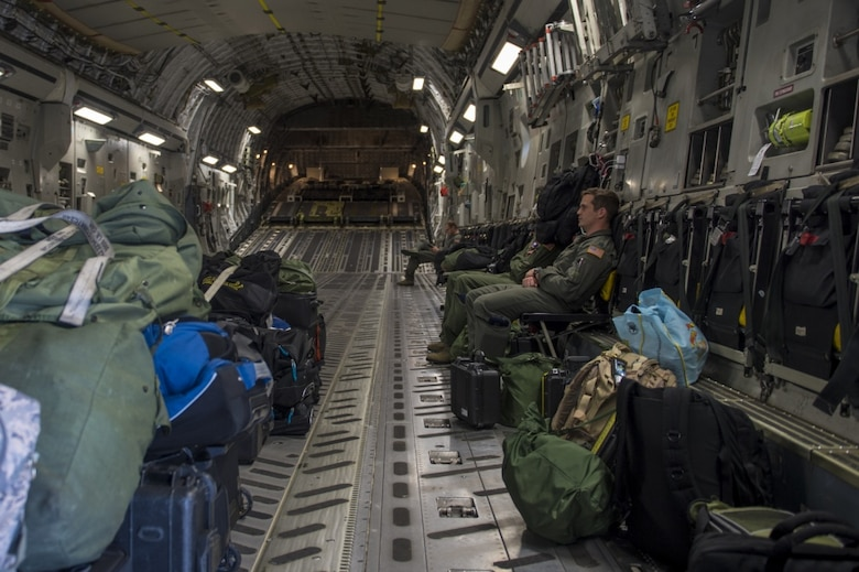 Joint Base Charleston aircrew prepare for take-off on a C-17 Globemaster III as it is evacuated to Fort Campbell, Ky., on Oct. 6, 2016, so they can continue their mission of rapid global mobility during Hurricane Matthew. Due to Hurricane Matthew, a Limited Evacuation Order of South Carolina Hurricane Evacuation Zones was issued by the commander, Joint Base Charleston. All personnel are expected to evacuate the area and will return once damage is assessed and it's safe to return