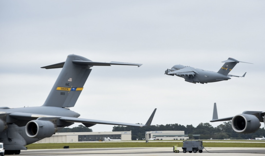 Joint Base Charleston C-17 Globemaster IIIs evacuate to Fort Campbell, KY on Oct. 6, 2016 to continue their mission of rapid global mobility during Hurricane Matthew. Due to Hurricane Matthew, a Limited Evacuation Order of South Carolina Hurricane Evacuation Zones was issued by the Commander, Joint Base Charleston. All Joint Base personnel are expected to evacuate the area and will return once damage is assessed and it's safe to return.
