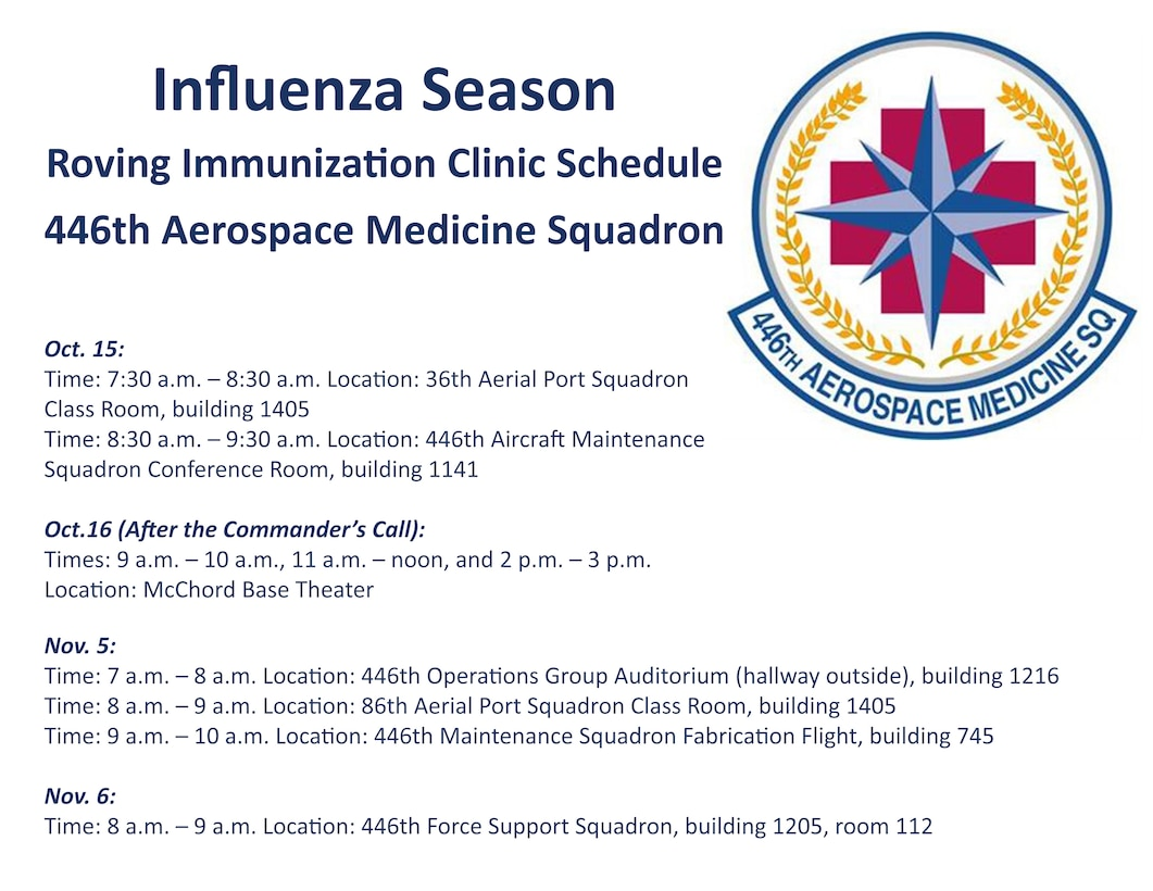 The 446th Aerospace Medicine Squadron will be providing roving immunization clinic services during Unit Training Assemblies starting in October. This graphic details the roving clinic schedule.