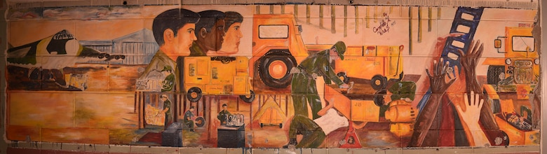 This mural was uncovered on Grand Forks Air Force Base N.D., Oct. 4, 2016. It was painted in 1975 by Airman 1st Class Candido A. Veras. (U.S. Air Force photo illustration by Airman 1st Class Elijaih Tiggs) (This image was manipulated using photomerge techniques in Adobe Photoshop.)