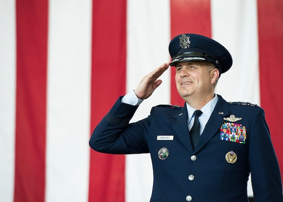 U.S. Air Force Lt. Gen. Jerry P. Martinez, incoming United States Forces, Japan and 5th Air Force commander, salutes during his Assumption of Command ceremony October 6, 2016, at Yokota Air Base, Japan. Martinez was the former Headquarters Air Mobility Command director of operations at Scott Air Force Base, Ill. (U.S. Air Force photo by Airman 1st Class Donald Hudson/Released)
