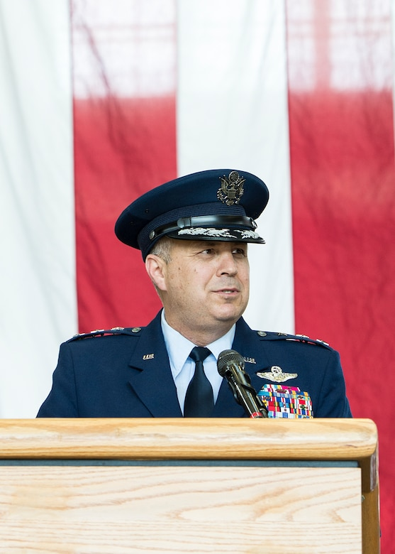 U.S. Air Force Lt. Gen. Jerry P. Martinez, incoming United States Forces, Japan and 5th Air Force commander, speaks during his Assumption of Command ceremony October 6, 2016, at Yokota Air Base, Japan. Martinez was the former Headquarters Air Mobility Command director of operations at Scott Air Force Base, Ill. (U.S. Air Force photo by Airman 1st Class Donald Hudson/Released)