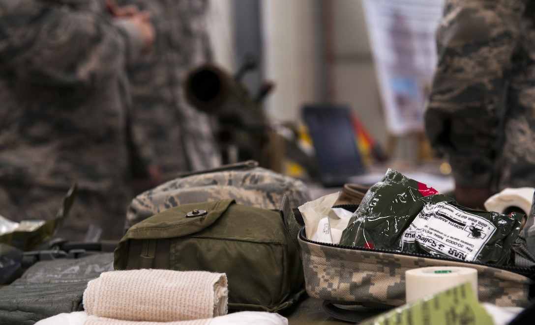 Medical supplies are displayed on a table during the 435th Air Ground Operations Wing's open house at Ramstein Air Base, Germany, Oct. 6, 2016. The 435th AGOW hosted the open house for Ramstein leaders and U.S. Air Force in Europe functional area managers so they could have a better understanding of the wing's equipment and capabilities. (U.S. Air Force photo by Senior Airman Tryphena Mayhugh)