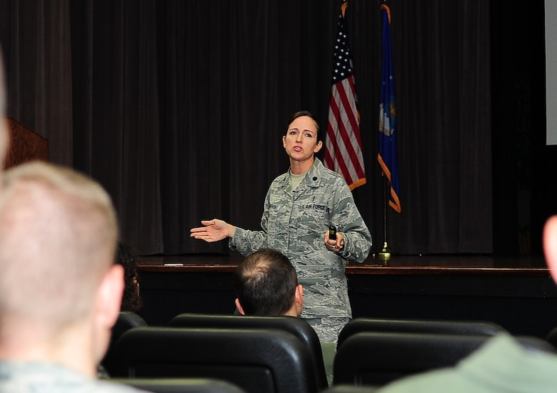 Lt. Col. Teresa Roberts, Profession of Arms Center of Excellence Operations Division Chief, speaks to attendees during a PACE brief Sept. 30 at Columbus Air Force Base, Mississippi. The five-hour course covers several different modules separated with some group activities. The modules included connecting values to mission, professionalism, thinking about thinking, human behavior, communication, personal bias and more. (U.S. Air Force photo by Senior Airman Kaleb Snay)