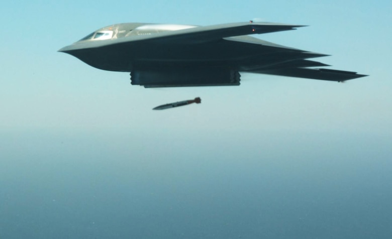A B-2 drops a B-61 Joint Test Assembly Aug 24, 2015.