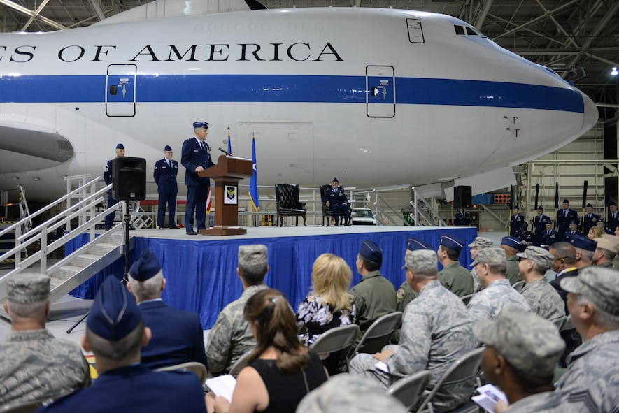 U.S. Maj. Gen. Thomas Bussiere, Eighth Air Force commander, addresses an audience of Airmen during the E-4B realignment and 595th Command and Control Group activation ceremony at Offutt Air Force Base, Neb., Oct. 7, 2016. The E-4B, which serves as the National Airborne Operations Center for the President, Secretary of Defense and Joint Chiefs of Staff, was transferred to Air Force Global Strike Command's Eighth Air Force in an effort to centrally manage all nuclear-related assets. (U.S. Air Force photo by )