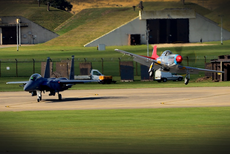 A World War II era P-51D Mustang makes its landing approach at Royal Air Force Lakenheath, England, Oct. 4, 2016. The aircraft, known as a Red Tail, was reunited with its former Tuskegee Airman pilot, U.S. Air Force retired Lt. Col. George E. Hardy. (U.S. Air Force photo/ Tech. Sgt. Matthew Plew)