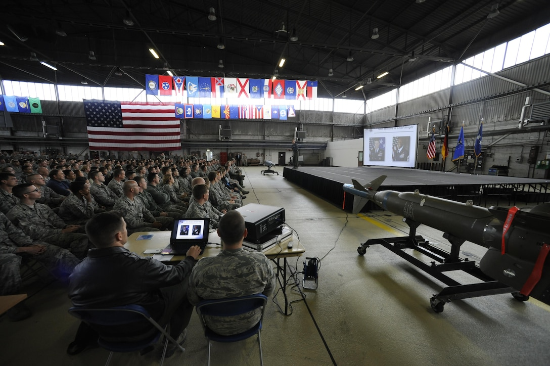 Gen. Tod D. Wolters, U.S. Air Forces in Europe and Air Forces Africa commander, speaks to 52nd Fighter Wing Airmen during an all call in Hanger One on Spangdahlem Air Base, Germany, Oct. 6, 2016. Wolters made his first visit to Spangdahlem since assuming command in August 2016, speaking to Airmen and introducing himself as the new commander. (U.S. Air Force photo by Senior Airman Joshua R. M. Dewberry)