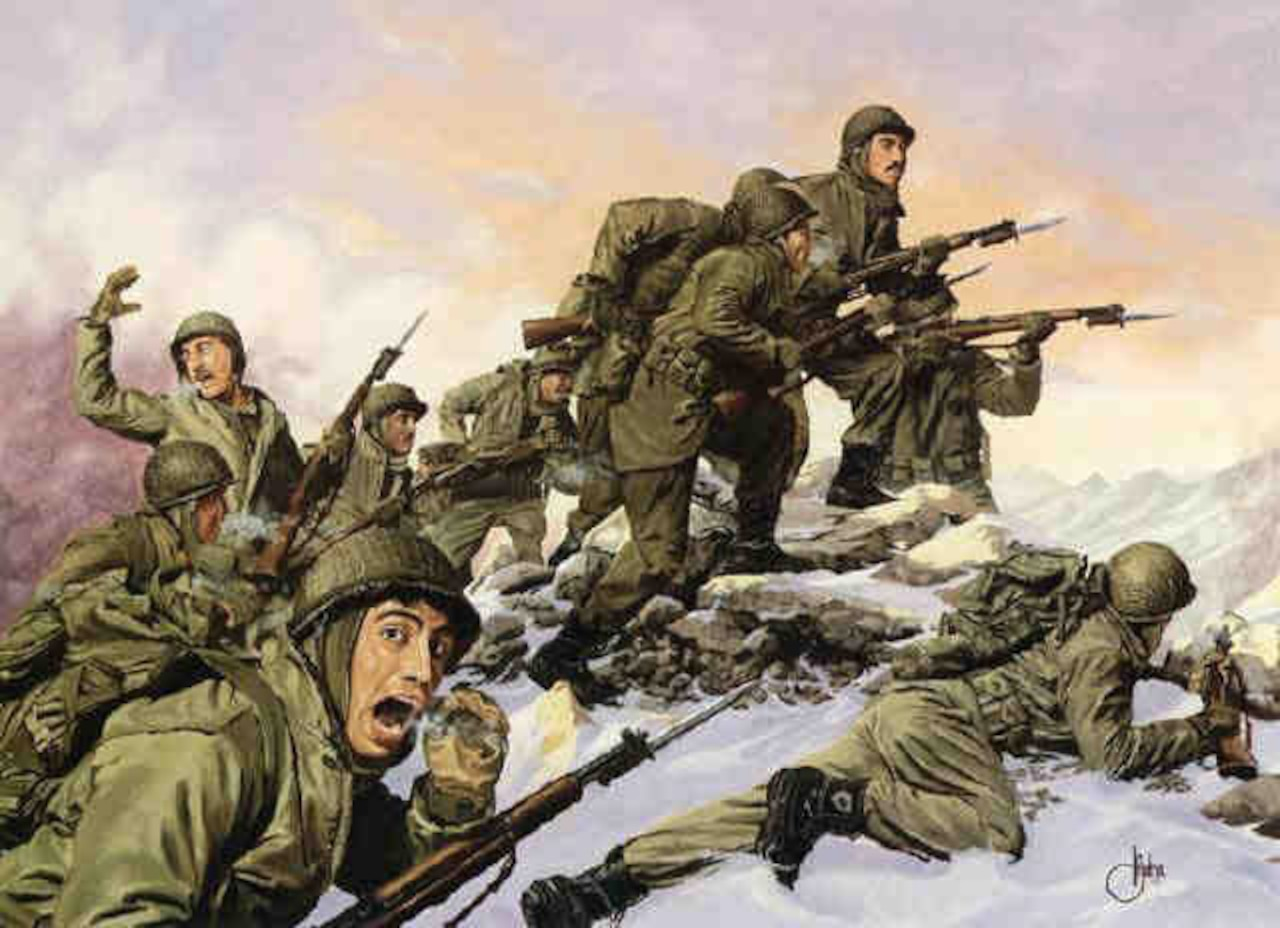 The Korean War battle portrayed in the painting was the last recorded battalion-sized bayonet attack by the U.S. Army. The artwork was painted by Dominic D'Andrea in 1992, and was commissioned by the National Guard Heritage Foundation. The battle began on Jan. 31, 1951, and took three days. On the morning of the third day, two battalions of the 65th Infantry Regiment fixed bayonets and charged straight at enemy positions. The Chinese fled. Courtesy illustration