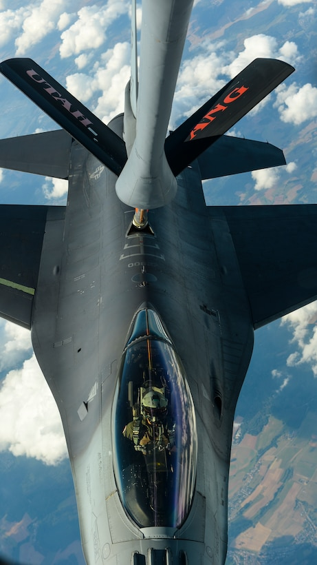 An F-16 Fighting Falcon, assigned to the 52nd Fighter Wing at Spangdahlem Air Base, Germany, receives fuel from a KC-135 Stratotanker over Ramstein AB, Germany, Sept. 27, 2016. Utah Air National Guard's 191st Air Refueling Squadron conducted aerial refueling during a routine training sortie. (U.S. Air Force photo/Senior Airman Dawn M. Weber)