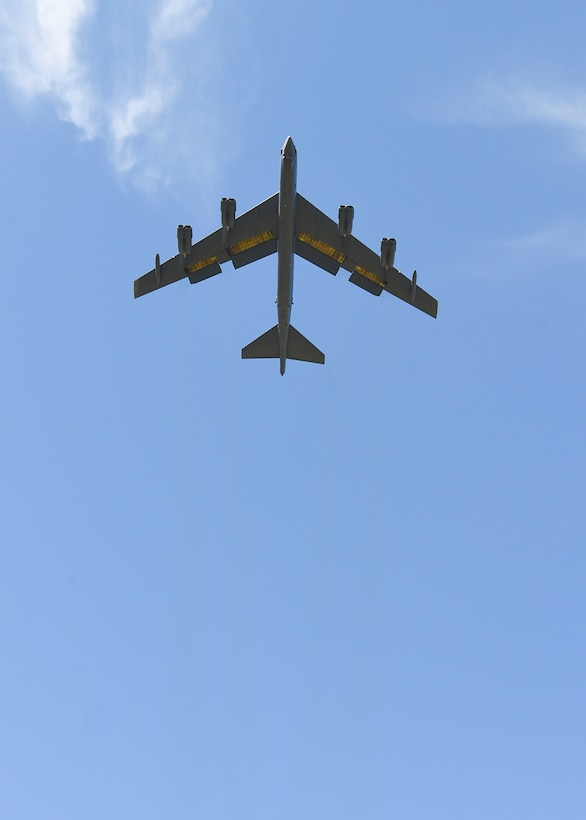 "A B-52H Stratofortress, this one nicknamed ""Ghost Rider,"" heads home to Minot Air Force Base, N.D., Sept. 27, 2016, where it will rejoin the B-52H fleet. After undergoing a nine-month overhaul and upgrade by the Oklahoma City Air Logistics Complex, the B-52H left Tinker AFB, Okla. The historic aircraft is the first B-52H to ever be regenerated from long-term storage with the 309th Aerospace Maintenance and Regeneration Group at Davis-Monthan AFB, Ariz., and returned to full operational flying status. (U.S. Air Force photo/Mark Hybers)"