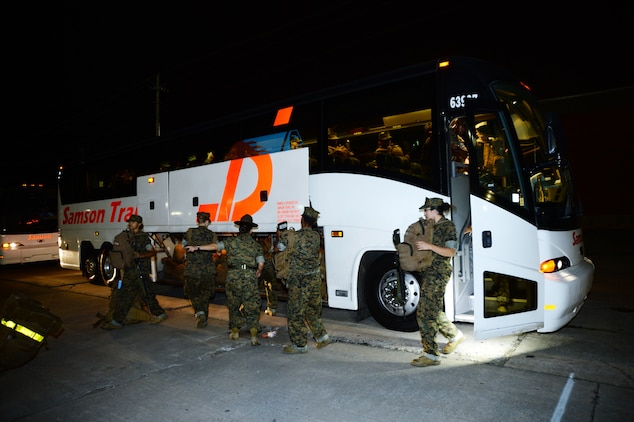 Marine female recruits are the first to arrive from Marine Corps Recruit Depot Parris Island, S.C., as they avoid potential severe weather from Hurricane Matthew, Oct. 5.