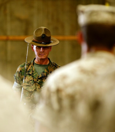 Marine Corps drill instructors, from Marine Corps Recruit Depot Parris Island, S.C., instruct recruits in physical fitness, close-order drill and other classes, while aboard Marine Corps Logistics Base Albany, Oct. 6.