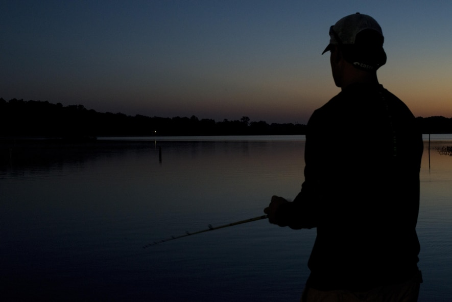 Staff Sgt. Alex Stojadinovic fishes on the Alabama River, Sept. 29, 2016. The Holm Center finance troop uses fished as an outlet to keep his mind calm. (U.S. Air Force photo by Senior Airman William Blankenship)