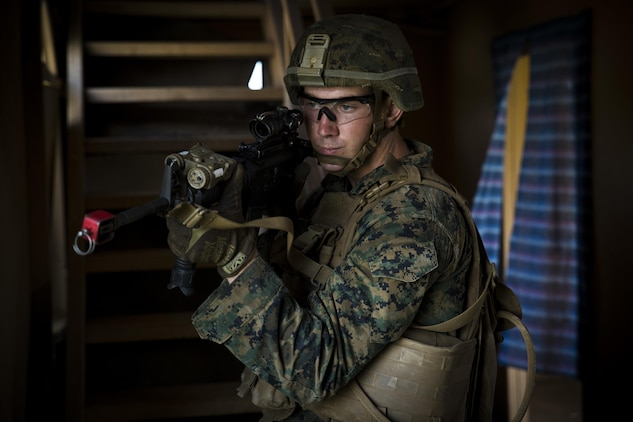 MARINE CORPS TRAINING AREA BELLOWS – Pfc. Alex Renschler, a rifleman with Charlie Company, 1st Battalion, 3rd Marine Regiment, and an Evansville, Indiana native, provides security during a patrol part of Exercise Island Viper aboard Marine Corps Training Area Bellows, Sept. 29, 2016. Exercise Island Viper is a 3-week-long battalion level training evolution workup that focuses on sharpening the infantry skills of the individual, team and squad. (U.S. Marine Corps Photo by Lance Cpl. Jesus Sepulveda Torres)