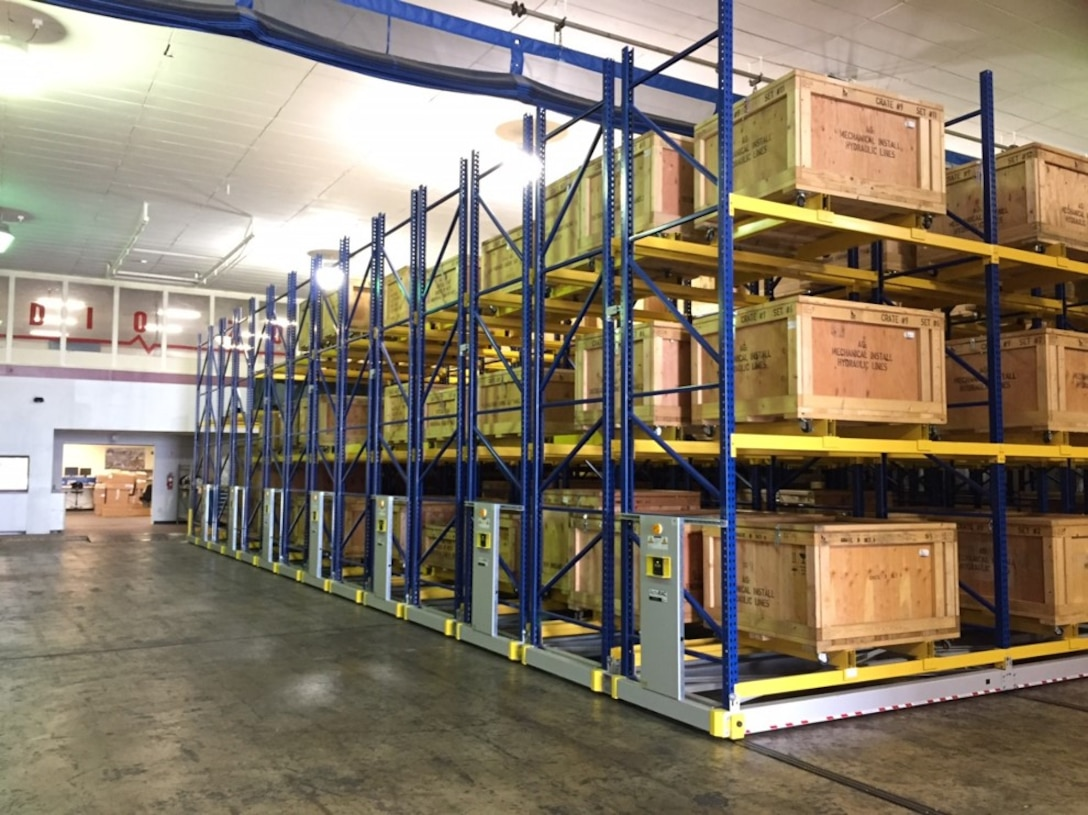 The 575th Aircraft Maintenance Squadron at Randolph AFB, Texas, installed an ACTIVRAC 16 high-density mobile storage shelving system. The storage system is a three-tiered shelf rack, 14-feet high and mounted on rails with 13 movable sections known as carriages. (Courtesy photo)