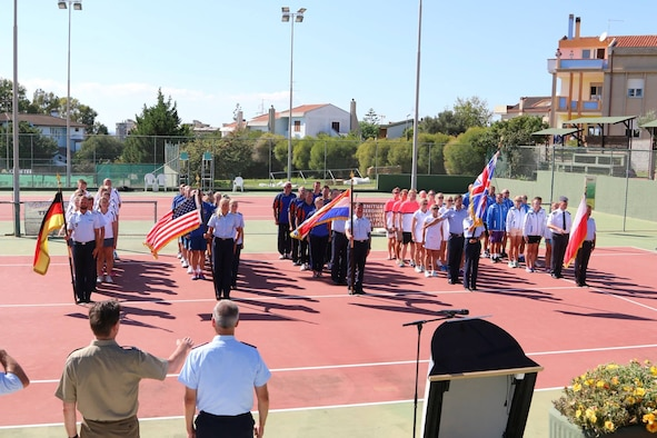 Five teams stand at attention during the opening ceremony for the Headquarters Air Command Tennis Championship 2016 Sardegna in Cagliari, Italy Sept. 19. NATO countries compete every two years in a variety of sports. (Courtesy photo)