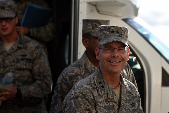 U.S. Air Force Maj. Gen. Bob LaBrutta, 2nd Air Force Commander, visits Goodfellow Air Force Base, Texas, during a tour of 2nd Air Force bases, Oct. 6, 2016. LaBrutta visited various squadrons to understand the base mission and to speak to Airmen one-on-one. (U.S. Air Force photo by Airman 1st Class Caelynn Ferguson/Released)