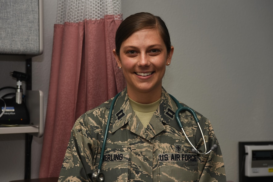 Capt. Kelly Smerling, 90th Medical Operations Squadron pediatric nurse practitioner, poses at the clinic at F.E. Warren Air Force Base, Wyo., Sept. 29, 2016. The 90th MOS mission is to provide quality and safe healthcare to active duty, dependent and veteran patients. (U.S. Air Force photo by Airman 1st Class Breanna Carter)