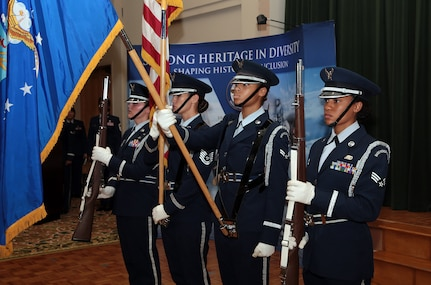 An all-female Honor Guard detail from the 802nd Force Support Squadron posts the colors during the Joint Base San Antonio-Lackland Women in the Air Force reunion  luncheon Oct. 7, 2016, at  the JBSA-Lackland Gateway Club. JBSA-Lackland hosted a reunion of the WAF members and provided the 62 members a tour of the base. WAF was founded in 1948 out of the Women's Armed Service Integration Act, which enabled tens of thousands of female service members to find jobs in the Air Force. In 1976 women were accepted into the service on an equal basis with men.