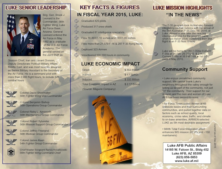 2016 Luke Air Force Base Trifold