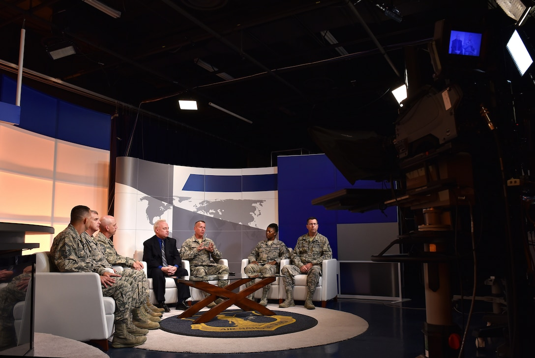 A contracting working group for the Air National Guard hosts a live, nationwide question-and-answer session, Oct. 6, 2016, with the field from the TEC TV studios at the IG. Brown Training and Education Center on McGhee Tyson Air National Guard Base in Louisville, Tenn. The subject matter experts addressed current information and issues in contracting. (U.S. Air National Guard photo by Master Sgt. Mike R. Smith)