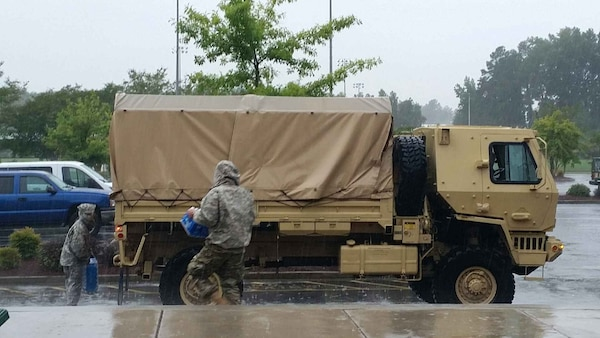 The South Carolina National Guard has assets staged throughout the lowcountry and along the coast to respond to emergency situations during and after Hurricane Matthew, including vehicles that can transport medical personnel and other first responders through high-water areas and engineer assets to help clear debris in the aftermath.