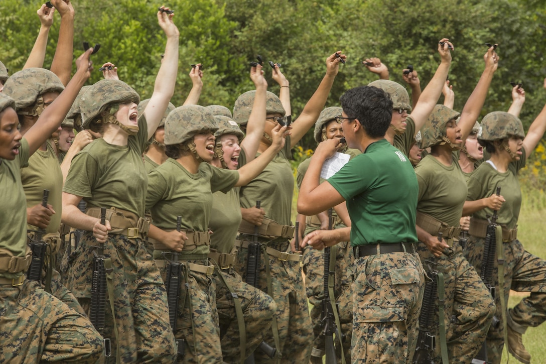 Marine Corps recruits prepare for a martial arts training session