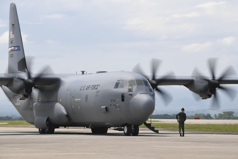 A C-130J Hercules from Dyess Air Force Base, Texas, goes through pre-flight checks at Soto Cano Air Base, Honduras, prior to deploying to Port-au-Prince, Haiti, to support the ongoing Hurricane Matthew disaster relief efforts. This cargo aircraft deployed to Soto Cano AB within hours of being requested to transport additional personnel and equipment necessary to sustain flight and maintenance operations in Haiti.