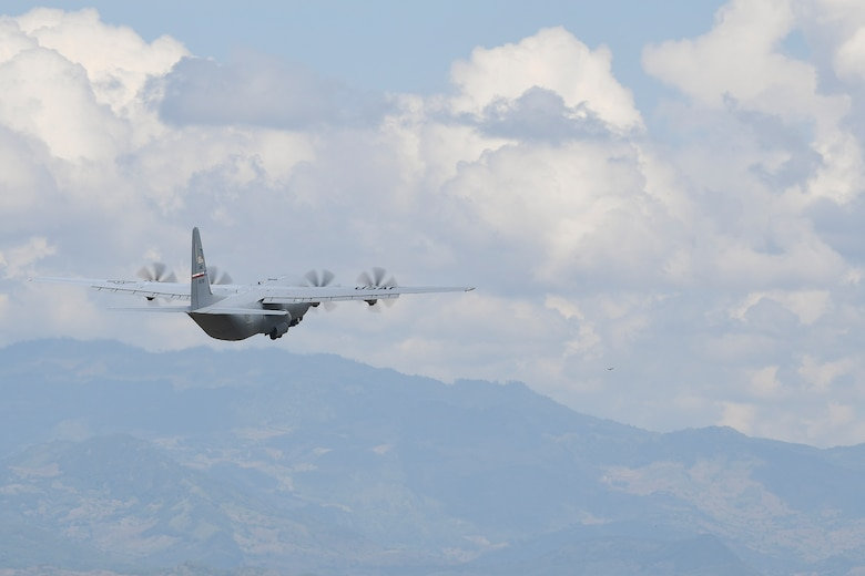 A C-130 Hercules from Dyess Air Force Base, Texas, takes flight from Soto Cano Air Base, Honduras, headed towards Haiti to support the ongoing Hurricane Matthew disaster relief efforts Oct. 7, 2016. At the request of U.S. Southern Command, U.S. Transportation Command directed C-17 Globemaster III and C-130 cargo aircraft to Soto Cano AB to move critical supplies and personnel to Haiti where approximately 200 Soldiers, Airmen and Marines from Special Purpose Marine Air-Ground Task Force-Southern Command and Joint Task Force-Bravo deployed this week with two CH-53E Super Stallion, three CH-47 Chinook, and two UH-60L and two HH-60L Black Hawk helicopters to provide heavy and medium lift to support the U.S. Agency for International Development-led mission.