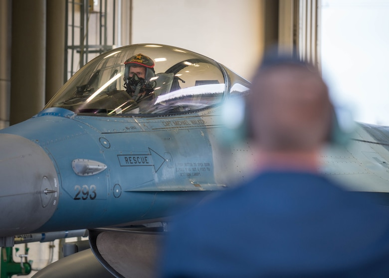 U.S. Air Force Col. David Mineau, the 354th Fighter Wing commander, prepares to take off in an F-16 Fighting Falcon aircraft Oct. 10, 2016, during RED FLAG-Alaska (RF-A) 17-1 at Eielson Air Force Base, Alaska. RF-A simulates the first 10 combat sorties of an initial surge during a conflict, enabling pilots to better understand the stresses of the environment. (U.S. Air Force photo by Staff Sgt. Shawn Nickel)