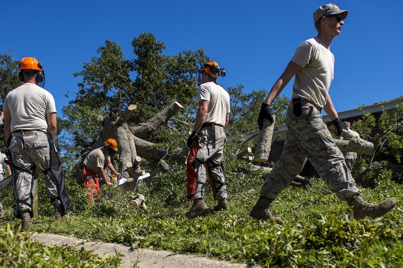 U.S. Air Force civil engineers with the 628th Civil Engineer Squadron, remove a fallen tree after  Hurricane Mathew swept through Hunley Park-Air Base housing, S.C., Oct. 9, 2016.   All non-essential personnel evacuated the area, but returned after disaster response coordinators assessed damage and verified a safe operating environment.