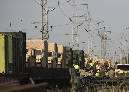U.S. Marines moved gear onto the Bulgarian rail system, Aug. 23, 2016. The gear movement from Novo Selo Training Area, Bulgaria, to Agile Spirit 16 in Tbilisi, Georgia, demonstrated the Marines' ability to pack, load and transport gear quickly to support operations anywhere in the Black Sea region. Agile Spirit is a two-week combined forces counterinsurgency and peacekeeping operations training exercise involving U.S. Marines deployed as part of the Black Sea Rotational Force and members of the Georgian military. (U.S. Marine Corps photo by Sgt. Michelle Reif.)
