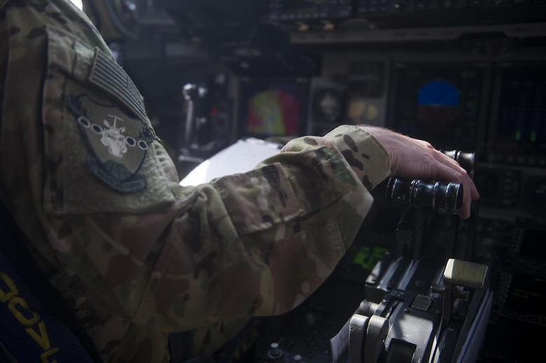 A U.S. Air Force C-17 Globemaster III pilot prepares to taxi toward the runway during a transport mission in support of Operation Freedom Sentinel in Southwest Asia Sept. 30, 2016. The C-17 is the newest most flexible cargo aircraft to enter the airlift force. The C-17 is capable of rapid strategic delivery of troops and all types of cargo to main operating bases or directly to forward bases in the deployment area. (U.S. Air Force photo by Staff Sgt. Douglas Ellis/Released)