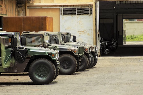 Four High Mobility Multipurpose Wheeled Vehicle (HMMWV) are parked outside a bay on the Gendarmerie Nationale Senegalaise base near Dakar, Senegal, Aug. 22, 2016. On 2 August, 2016, the United States donated 23 HMMWVs to Senegal via the Excess Defense Articles (EDA) program. The HMMWVs will be used to support both Peace Keeping efforts abroad and to counter internal security issues, such as the transport of illicit materials across national borders. Recognizing that developing the skills needed to maintain older HMMWVs is just as important as having the equipment itself, planners from the United States and Senegal jointly developed a training program to pass these skills to Senegalese mechanics. This engagement was the first in a series of planned courses of instruction meant to achieve the goal of developing a cadre of Senegalese HMMWV technicians. (U.S. Marine Corps courtesy photo/released)