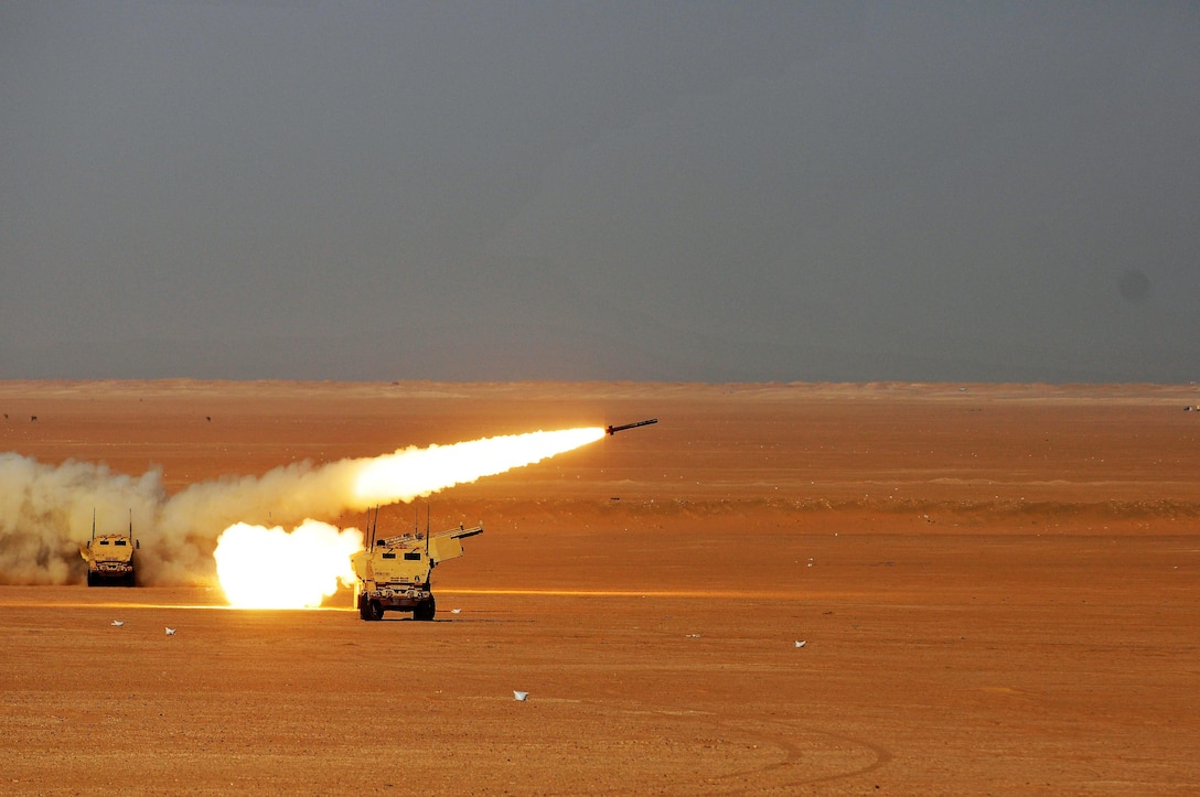Soldiers of Alpha Company, 1st Battalion, 94th Field Artillery Regiment, fire a rocket from a M142 high mobility rocket system during a decisive action training environment exercise on Oct. 4, 2016 near Camp Buehring, Kuwait. The unit certified four HIMARS operator crews as well as a contingent of forward observers during the exercise (U.S. Army photo by Sgt. Aaron Ellerman)