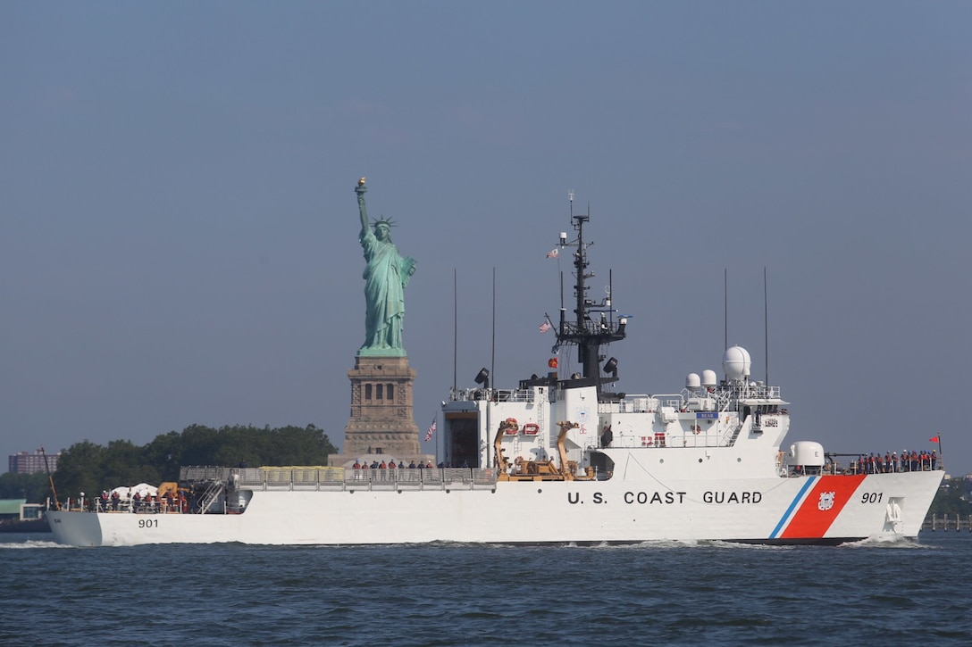 The Coast Guard Cutter Bear transits past the Statue of Liberty in New York City June 19, 2016.  The Bear is a 270-feet medium endurance cutter homeported in Portsmouth, Virginia.  U.S. Coast Guard photo by Petty Officer 3rd Class Turner Adair
