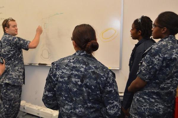 Petty Officer 1st Class Robin Mosely (left) questions (left to right) Seaman Hannah Ybarra, Petty Officer 1st Class Staci Allen and Petty Officer 3rd Class Raquel Alvarado on the different parts of a Cummins marine diesel engine at SERMC. Once trained, Sailors at SERMC clean, lubricate, adjust test and perform preventive maintenance on diesel engines.