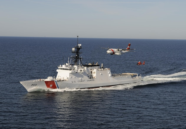 The U. S. Coast Guard's first national security cutter, the Bertholf, operating in concert an HC-144 maritime patrol aircraft and an MH-65 helicopter. The flagship in the Coast Guard's first new class of large cutters in 25 years, Bertholf is the Coast Guard's largest ever patrol cutter. (U.S. Coast Guard photo by PAC Tom Sperduto)