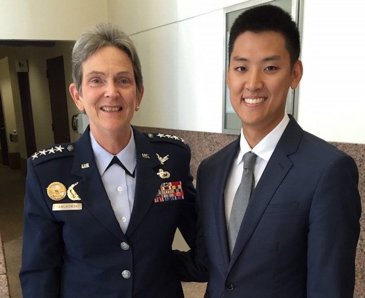 Gen. Ellen M. Pawlikowski, Air Force Materiel Command commander, visits with Cadet Christofer Ahn, a Columbia University senior majoring in earth and environmental engineering. Ahn, a cadet in AFROTC Detachment 560 at Manhattan College, will be commissioned as an officer upon graduation in 2017. During her trip to New York Oct. 3-4, Pawlikowski met with media, university and community leaders to discuss the Air Force vision to fly, fight and win in 2030 and beyond. (U.S. Air Force photo/Derek Kaufman)