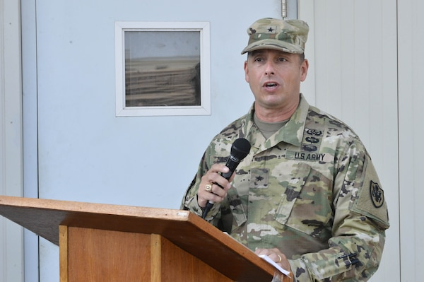 DLA Distribution commanding general, Army Brig. Gen. John S. Laskodi, delivers his remarks during the ribbon cutting ceremony at DLA Distributions newest detachment location in Djibouti, Africa on Sept. 30.