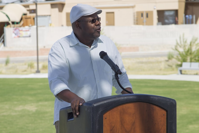 Melvin Pickens, lead facilities management specialist, Public Works Division, speaks to ceremony attendees during the Victory Park ribbon-cutting ceremony aboard Marine Corps Air Ground Combat Center, Twentynine Palms, Calif., Oct. 5, 2016. (Official Marine Corps photo by Cpl. Connor Hancock/Released)