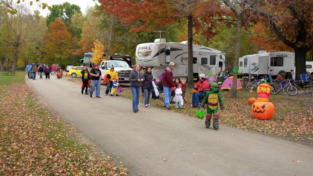 Annual Trick-or-Treat in the Park at the Thomson Causeway recreation area in Thomson, Illinois.