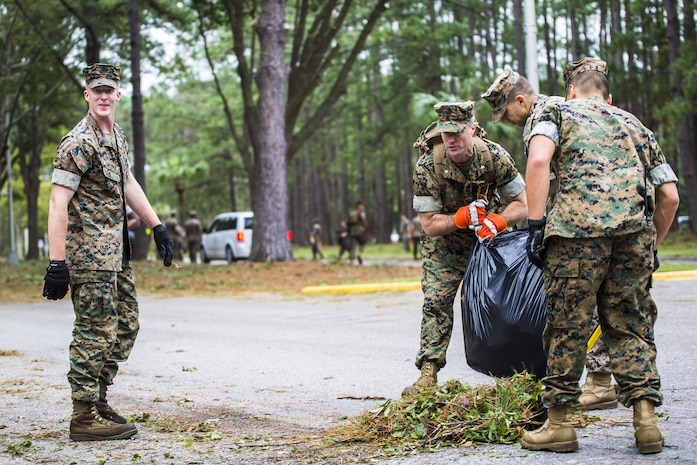 Marines clear debris from a main road aboard Marine Corps Air Station Beaufort Oct. 8. Marines and sailors with MCAS Beaufort worked to return the air station and Laurel Bay to normal operations. They removed debris and cleaned up main access roads to establish infrastructure after Hurricane Matthew.