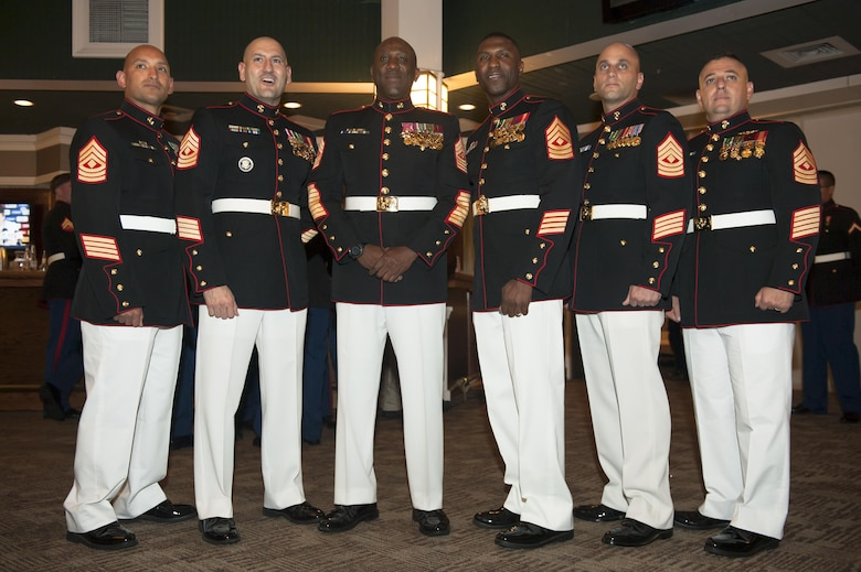 From left to right, Headquarters and Service Battalion (H&SBN), Service Company First Sergeant U.S. Marine Corps 1st Sgt. Juan A. Abrego, Headquarters Company First Sergeant 1st Sgt. Joseph Sorgie, Sgt. Maj. of the Marine Corps Ronald L. Green, Combat Development Company First Sergeant 1st Sgt. Nicholas Underwood, Tenant Activities Company First Sergeant 1st Sgt. Chris Demosthenous, and Training and Education Company First Sergeant 1st Sgt. James Miramontes, pose for a photo during H&SBN Mess Night at The Clubs at Quantico, Marine Corps Base Quantico, Va., Sept. 30, 2016. The Marine Corps mess night, a time honored tradition since the 1950s, builds Esprit de Corps with the Marines, providing camaraderie, food and entertainment, and toasts honoring the sacrifices of past and present Marines who have served in the Corps. (Photo by Lance Cpl. Yasmin D. Perez)