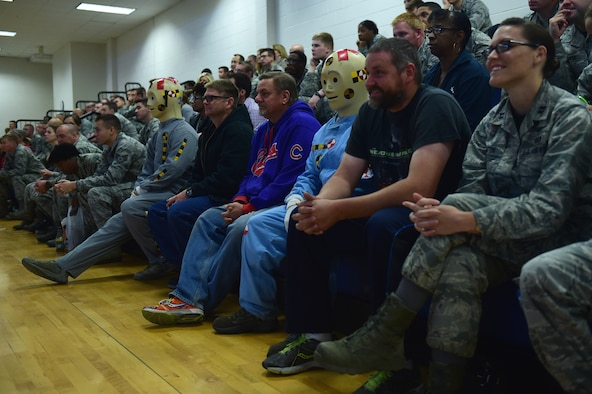 Two crash dummies sit with Team Buckley during a Safety Day event Oct. 7, 2016, at the fitness center on Buckley Air Force Base, Colo. The goal of the event was to bring subject matter experts to Buckley AFB to present important information about safety. (U.S. Air Force photo by Airman 1st Class Gabrielle Spradling/Released)