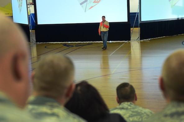 Cal Fennimore, Colorado Parks hunting and outdoor safety advocate, speaks about hunting and outdoor safety during a Safety Day event Oct. 7, 2016, at the fitness center on Buckley Air Force Base, Colo. The hunting and outdoor safety portion of the day included gun safety and survival skills. (U.S. Air Force photo by Airman 1st Class Gabrielle Spradling/Released)